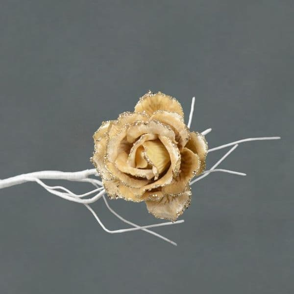 Davies Products Clip On Velvet Rose - 10cm Champagne